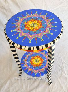 Hand Painted Mandala Side Table With Shelf and Three by LisaFrick