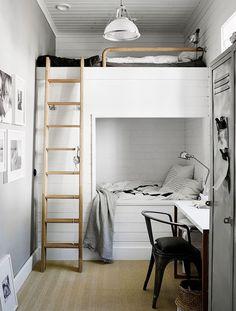 Gravity Home: Bunk beds in the kids room of interior stylist Pella Hedeby Scandinavian Bedroom Decor, Bed Design, Home Decor Bedroom, Home, Bedroom Furniture, Bed, Small Bedroom, Bunk Bed Designs, Kid Room Decor