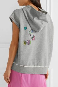 Mira Mikati - Never Grow Up Embellished Appliquéd Cotton-jersey Hooded Top - Gray - FR