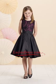 f64640d44179a 2015 A Line Scoop Flower Girl Dresses Taffeta And Lace Knee Length Vestidos  Negros Para Niñas