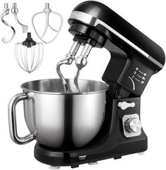 Stand Mixer, Aicok Dough Blender with Powerful Double Hooks, 6 Speeds Noiseless Less than 5 Litre Staainless Steel Bowl with Splash Guard (Beater, Double Hooks, Whisk) Kitchen Machine, Kitchen Aid Mixer, Milk Shakes, Dough Machine, Freezer Cookies, Best Stand Mixer, Baking Games, Digital Kitchen Scales, Stainless Steel Bowl