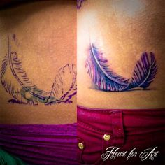 purple feather cover up tattoos egodesigns/love the color Feather Tattoo Cover Up, Feather Tattoos, Cover Up Tattoos, Cute Tattoos, New Tattoos, Tattoo Shop, I Tattoo, Ink Addiction, Piercing Tattoo