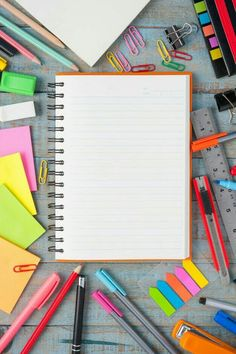 Picture of Notebook paper and school or office tools on blue vintage wood table for background stock photo, images and stock photography. Screen Wallpaper, Mobile Wallpaper, Wallpaper Backgrounds, Iphone Wallpaper, Stock Design, Design Design, Bellet Journal, 1 Clipart, Notebook Paper