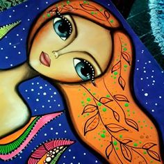 Mixed Media Faces, Art Journal Inspiration, Whimsical Art, Girl Face, Painting For Kids, Big Eyes, Beautiful Paintings, Folk Art, Art Projects