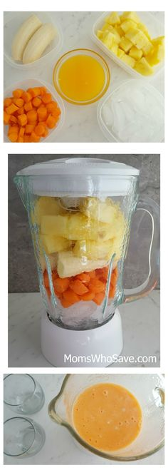 Healthy Carrot Pineapple Smoothie Pineapple Smoothie Recipes, Carrot Smoothie, Best Smoothie Recipes, Raspberry Smoothie, Good Smoothies, Juice Smoothie, Breakfast Smoothies, Smoothie Drinks, Smoothie With Carrots
