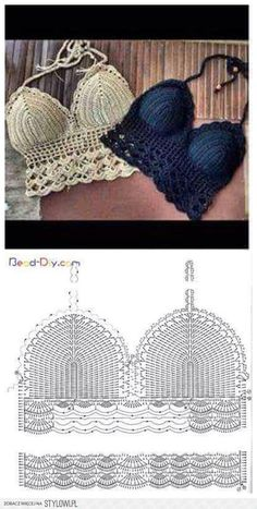 32 amazing image of crochet bra pattern Pictures of crop top crochet pattern view in gallery granny crop with ribbon RUHPYSD Popular crop top crochet pattern häkel bikini. top crochet passo a passo - Bu tops a crochet paso a paso ile ilgili görsel sonuc Tops Tejidos A Crochet, Débardeurs Au Crochet, Mode Crochet, Crochet Halter Tops, Crochet Crafts, Double Crochet, Crochet Stitches, Crochet Projects, Crochet Shawl