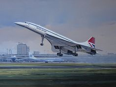 British Airways Aérospatiale-BAC Concorde powering off the runway at London-Heathrow, circa 1982.