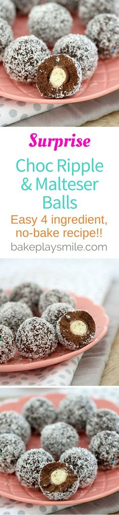 4 ingredients is all it takes to make these deliciously simple no-bake Surprise Choc Ripple & Malteser Balls!