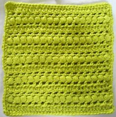 Puff Stitch Crochet Dishcloth By Kathleen Stuart - Free Crochet Pattern With Website Registration - See http://www.ravelry.com/patterns/library/272-puff-stitch-crochet-dishcloth For Additional Projects - (bestfreecrochet)