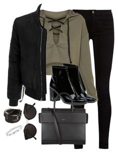A fashion look from February 2017 featuring lace up hoodie, blouson jacket and skinny fit jeans. Browse and shop related looks. Kpop Fashion Outfits, Winter Fashion Outfits, Teen Fashion, Stylish Outfits, Fall Outfits, Cute Outfits, Look Girl, Fashion Capsule, Ann Demeulemeester