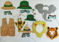 Items as seen in Pictures Material Glitter Foamy and Wooden Dowel Ask us for custom work. Giraffe 12 x inches approx. Tiger x inches approx. Elephant 17 x inches approx. Lion x Born to be Wild Glasses 7 x inches approx. Dangerous Animal x Safari Party, Jungle Theme Parties, Jungle Theme Birthday, Wild One Birthday Party, Jungle Party, Safari Theme, Dinosaur Birthday, Safari Photo Booth, Photo Booth Props
