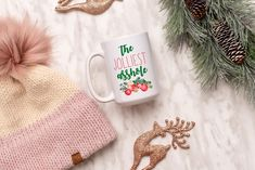 The Jolliest Asshole Mug, Funny Christmas Mug, Christmas Mug by SweetSipsShop on Etsy Christmas Mugs, Funny Christmas, Menu Printing, Labour Day, Looking Forward To Seeing You, New Day, Etsy, Color, Christmas Mug Rugs