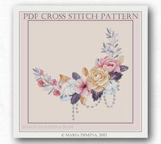 Moonlight Wreath with Pearls PDF cross stitch chart / pattern от LittleRoomInTheAttic