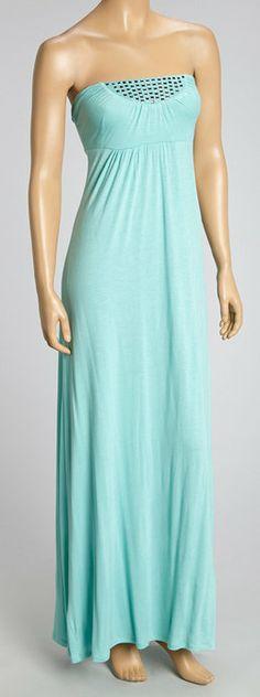 Mint Green Embellished Strapless Dress