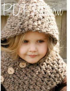 Crochet Hooded Cowl Pattern for toddlers | Crochet PATTERN-The Hampton Hood (Toddler, Child, Adult sizes ...