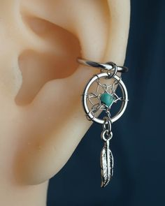 no piercing ear cuff dream catcher conch hoop conch earring hoop non pierced turquoise silver unique boho bohemian jewelry (8.99 USD) by JennyAndWind