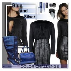"""Blue and Silver color challenge"" by angel-a-m ❤ liked on Polyvore featuring Gorgeous Cosmetics, Boohoo, Clinique, Smashbox, Chanel, Report, polyvoreeditorial and blueandsilver"