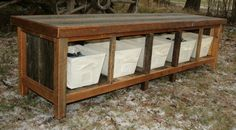 Custom Rustic Reclaimed Entry Bench with 5 Wood by EchoPeakDesign, $545.00