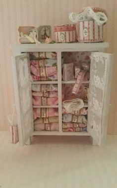 OOAK 1:12 Scale Dollhouse Miniature Shabby Chic Sewing Room Cabinet and Dresser in Dolls & Bears, Dolls' Miniatures & Houses, Furniture   eBay