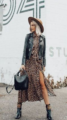 Leopard dress outfit minus the hat. Fashion Mode, Moda Fashion, Fast Fashion, Fashion Outfits, Fashion Stores, Fashion Clothes, Fashion Boots, Fashion Trends, Black Women Fashion