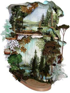 Acrylic, balsa wood, euro cast, fern, found foam, geranium, lichen, moss, paper, pine cone, pine needle, plastic bag, sponge, seedum, waxed tape, winter wheat, wire