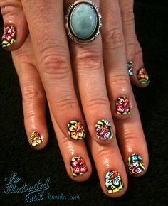 Nail designs are the best way to keep your manicure looking fresh. so embrace your cuticles and check out these easy and enviable nail designs and ideas for all seasons and events. Aloha Nails, Hawaiian Nails, Tropical Nail Designs, Cool Nail Designs, Floral Designs, Tumblr Nail Art, Nail Art Pictures, Flower Nails, Cool Nail Art