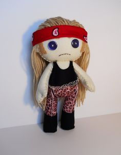 (J) This is the Greatest Thing I Have Ever Seen. (OTHER) Felt Axl Rose Guns N Roses inspired custom plush stuffed rag doll toy. $45.00, via Etsy.