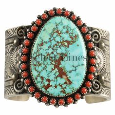 Sterling Silver Turquoise and Coral Bracelet Navajo Nelvin Burbank