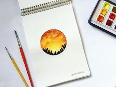 "160 Likes, 7 Comments - | Sheeba Anjum | Art In Detail (@artindetail_) on Instagram: ""Orange skies 🌅 . #art #painting #illustrate #orange #sunset #galaxy #instagram #artist #sheebaanjum…"""