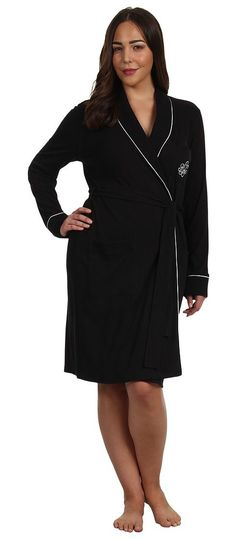 LAUREN Ralph Lauren Plus Size Essentials Quilted Collar and Cuff Robe (Black) Women's Robe - LAUREN Ralph Lauren, Plus Size Essentials Quilted Collar and Cuff Robe, 814193X-001, Apparel Top Robe, Robe, Top, Apparel, Clothes Clothing, Gift, - Fashion Ideas To Inspire