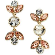 Charter Club Gold-Tone Peach & Clear Crystal Drop Earrings, (270 MXN) ❤ liked on Polyvore featuring jewelry, earrings, gold, gold colored jewelry, peach earrings, gold tone drop earrings, goldtone jewelry and peach jewelry