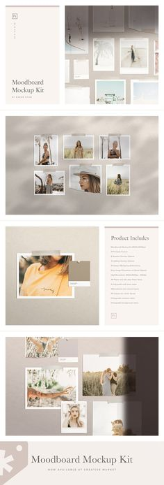 Moodboard Mockup Kit by Ruben Stom on Polaroid Frame, Kodak Film, Scene Creator, Torn Paper, Square Card, Design Graphique, Paper Size, Textured Background, Very Well