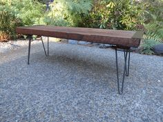 5 ft Industrial Bench from salvaged barnwood by MtHoodWoodWorks