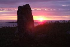 Polachar Stone, West Kilbride, South Uist, the stone is thought to date from 2,000 bc and stands 1.5 metres high with a good view over the sea  to to the Isle of Barra