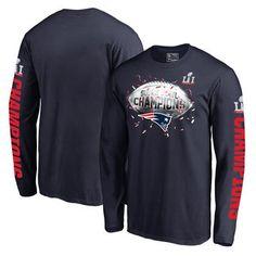 New England Patriots Pro Line by Fanatics Branded Big & Tall Super Bowl LI Champions Confetti Long Sleeve T-Shirt - Navy