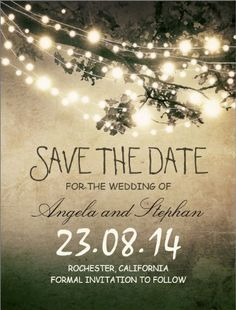 save the date postcards. very nice string lights with a vintage touch. design by jinaiji. click to customize.