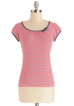 The Cutest Cruise Top in Red Stripe, #ModCloth