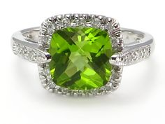 BOLD 2.27 ct Cushion Peridot .15 ctw Diamond Ring 14k white gold http://donnatsjewelry.com/p4817/BOLD-2.27-ct-Cushion-Peridot-.15-ctw-Diamond-Ring-14k-white-gold/product_info.html