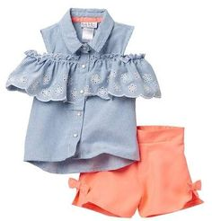 Nicole Miller Striped Eyelet Cold Shoulder Top & Poplin Short Set (Little Girls) baby girl | summer outfits | fashion | clothes | birthday | family photos | cute | adorable | stylish | trendy | afflink