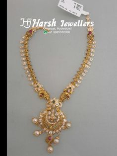 Simple light weight pachi work necklace from Harsh Jewellers Jewelry Design Earrings, Gold Earrings Designs, Gold Jewellery Design, Bridal Jewellery, Gold Necklace Simple, Gold Jewelry Simple, Simple Necklace Designs, Siri, Collections