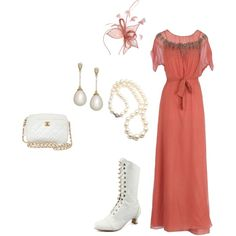 """Vintage Long Dress"" by cynthiahebert on Polyvore"