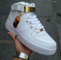 shoes nike air air force ones air forces forces fashion style gold white sneakers dope trill tumble pic high top nikes high top sneakers india westbrooks red