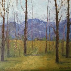 Donna Ceraulo oil and cold wax painting Mountain and Meadow