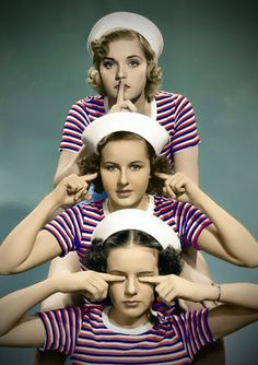 speak no evil, hear no evil, see no evil -- Nan Grey, Deanna Durbin, and Barbara Read Three Smart Girls - (1936)