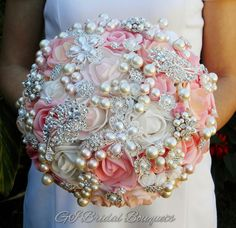 Pink Brooch Bouquet Bridal Brooch Bouquet Ready by GogaIvGallery