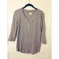 Banana Republic gray Henley three-quarter sleeve Comfy gray Henley tee-- great with jeans or cozy enough with sweatpants. No damage, only work a few times Banana Republic Sweaters