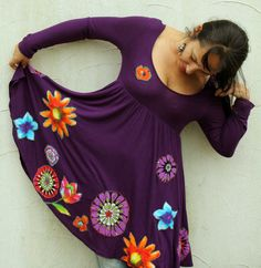 Floral appliqued upcycled hippie romantic dress by jamfashion, $85.00
