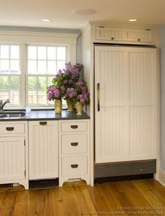 #Kitchen of the Day: Country Kitchens. (By Crown Point Cabinetry). Paneled refrigerator.