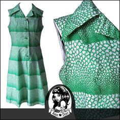 Vintage 1960s MOD Abstract Green Twiggy Scooter Dagger Collar Summer Dress 12