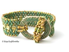 Turquoise Tile and superduo bracelet with ceramic clasp. Beadwork - peyote stitch. Image copyright © Rose Rushbrooke.